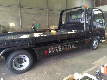 有限会社ガレージライフ様 車積載車 マーキング